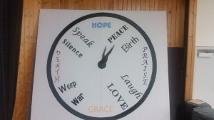 WR clock with words